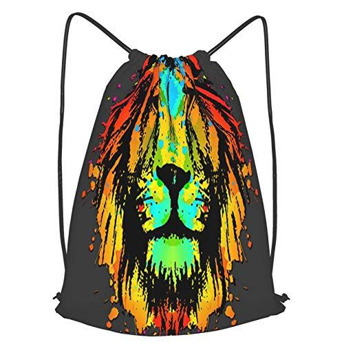 Olverz, zaino da palestra in morbido tessuto con testa di leone scuro, ultra leggero, con coulisse, resistente allo sbiadimento, borsa per uomo e donna