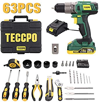 63-Piece Teccpo Drill and Home Tool Kit