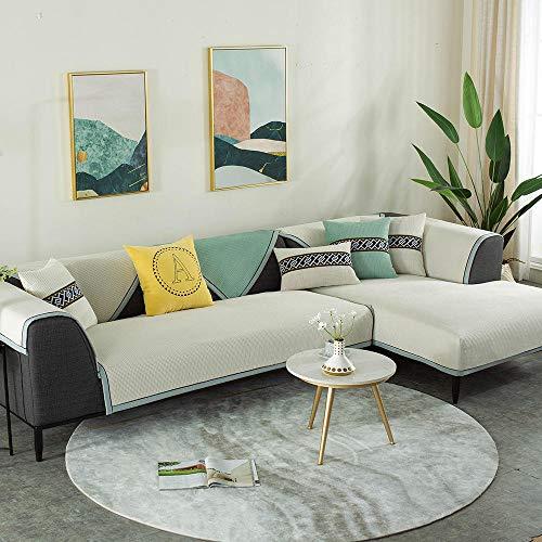 YUTJK Thick Sofabezug Stylish Pattern Sofaüberzug für Sofa Sofahusse Couchhusse mit Armlehne, Corn Kernel Plüsch Sofamatte, für Wohnzimmer, Nicht-gerade Weiss