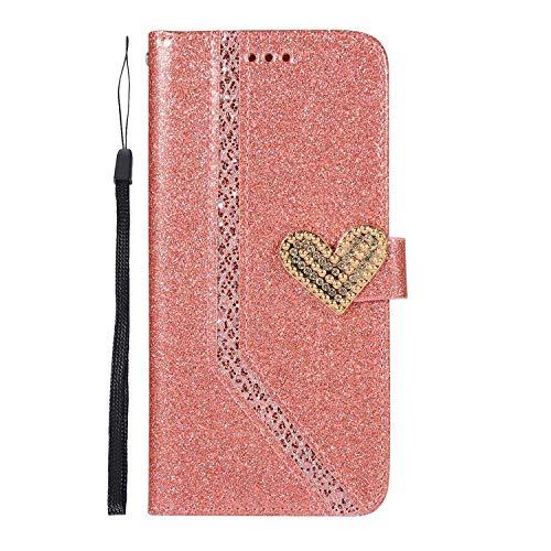 DENDICO Coque Galaxy S10 Plus, Étui Portefeuille Housse à Rabat Clapet pour Samsung Galaxy S10 Plus Case Brillante Glitter de Luxe - Rose