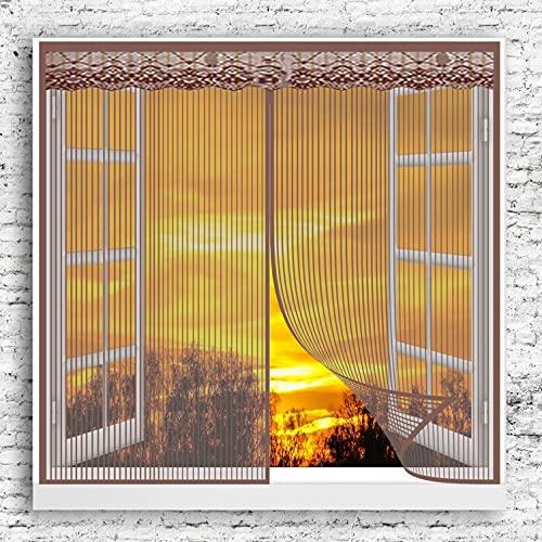 GOUER Mosquitera Magnética para Puerta 85x105cm Fácil de Ensamblar Cortina magnética de Malla Ventilación De Verano para Todo Tipo de Ventanas, Marrón A