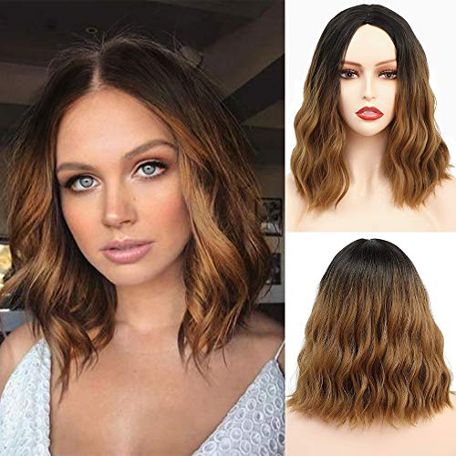 Ombre Short Wavy Bob wig 2 Tone Color Black to light Brown 14 Inch Synthetic Wig Heat Resistant Synthetic Hair Replacement Wigs for women