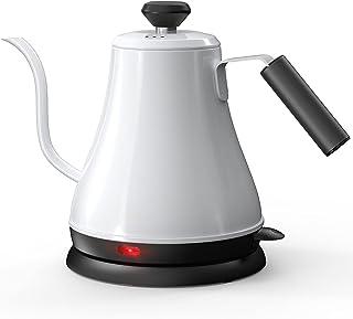 کتری برقی Gooseneck ، کتری قهوه و چای بریزید ، کتری Gooseneck گرمایش سریع ، فولاد ضد زنگ ، 0.8 لیتر ، 1000 وات ، با خاموش شدن خودکار و محافظت در برابر جوش ، سفید