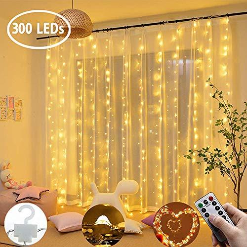 DYHQQ Luci per Tende da Finestra 3x3m, 300 LED Fairy Lights Bianco Caldo, Telecomando con Alimentatore USB, luci a Stringa Resistenti all'Acqua 8 modalità per Interni ed Esterni