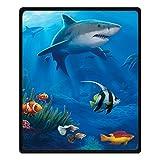 Qihua Printing Shark SEA Fish Blanket Velvet Plush Throw Blanket Bed Blankets Super Soft and Cozy Fleece Feeling Blanket for Travelling 58'(Width) x 80'(Length)