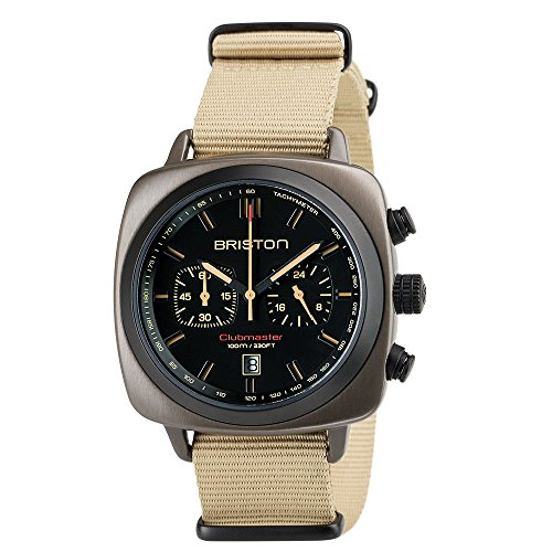 Briston–Clubmaster sport acciaio–cronografo cachi, 42mm