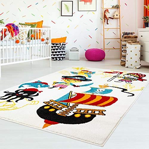 MyShop24h Kinderteppich Kinderzimmer Teppich Flachflor Kids Piraten Piratenschiff Papagei, Größe in cm:80 x 150 cm
