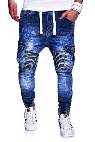 MT Styles Biker Jogg-Jeans Hose RJ-2271 [Blau, W32]