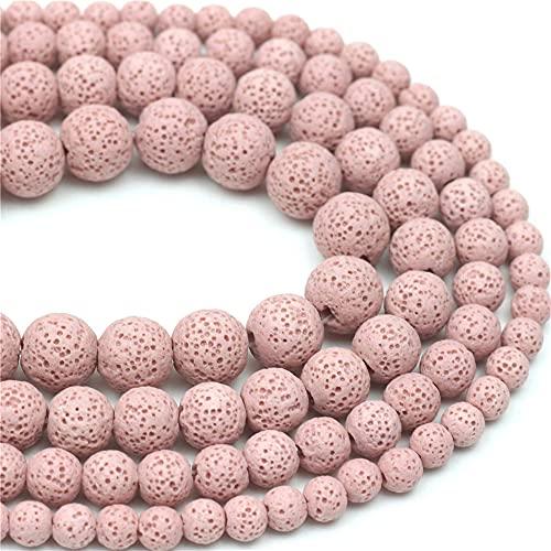 Oameusa 10 mm rosa lava volcánica roca piedras de ágata sueltas perlas para aromaterapia aceites esenciales DIY pulseras collar pendiente joyería suministros 35-38 piezas 15 pulgadas