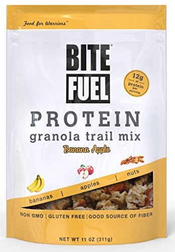 BITE FUEL High Protein Granola Trail Mix, Non GMO, Gluten Free Healthy Snacks - Banana Apple 11oz, 2 Count by
