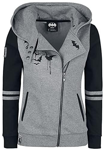 Batman Bat-Logo Mujer Capucha con cremallera gris/negro M, 70% algodón, 30% poliéster, Estrechos