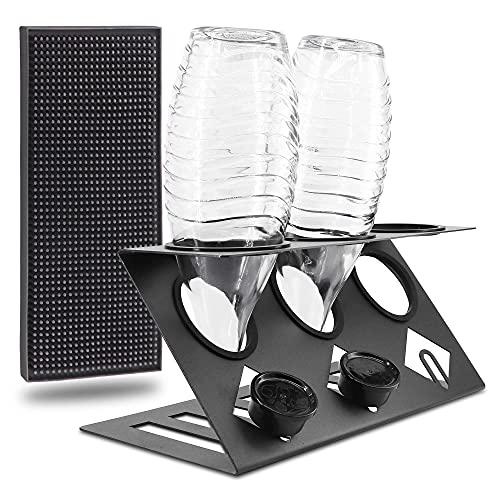 KYONANO Porta bottiglie per Sodastream con coperchio e supporto per Sodastream, lavabile in lavastoviglie, per 3 bottiglie SodaStream numero 008474381-0003