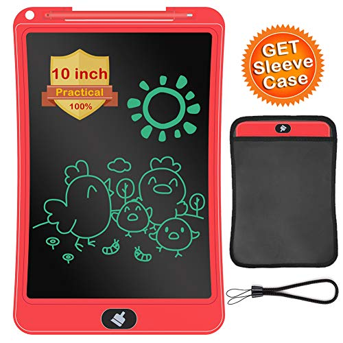 LCD Writing Tablet with Sleeve Case, ERUW 10 Inch Electronic Graphics Drawing Pads, Drawing Board eWriter, Digital Handwriting Doodle Pad with Memory Lock for Kids Home School Office,Red