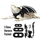WATFOON Lifelike Wings Leash for Bearded Dragon with 3 Size Comfort Leather Harness for Reptiles Amphibians Leopard Gecko Anole and Other Small Pet Animals (Black, Demon Wings)
