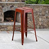 Flash Furniture Commercial Grade 4 Pack 30' High Backless Distressed Kelly Red Metal Indoor-Outdoor Barstool