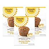 Simple Mills Almond Flour Baking Mix, Gluten Free Banana Bread Mix, Muffin Pan Ready, Made with whole foods, 3 Count (Packaging May Vary)