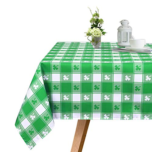 Ice jazz St. Patricks Day Tablecloth Green and White Buffalo Check Plaids Clover Tablecloth Durable Waterproof Table Cover for Home Decor Picnic Parties Holiday Dinner