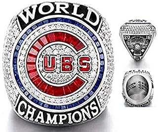 Nine Culture Cubs 2016 World Series Champions (Ending The Curse of The Billy Goat) Collectible Replica Baseball Championship Ring Size 11 with A Wooden Box