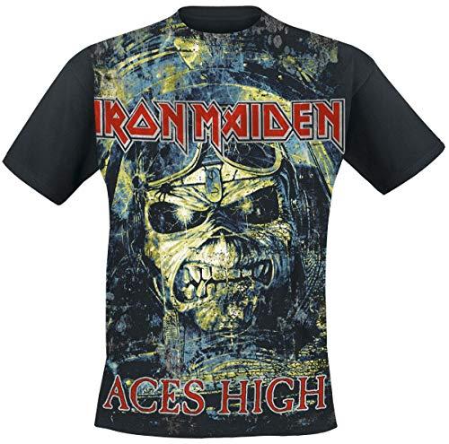 Iron Maiden Aces High Männer T-Shirt schwarz S 100% Baumwolle Band-Merch, Bands, Totenköpfe