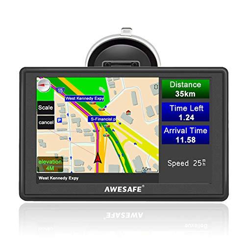 AWESAFE Sat Nav, 5 inch Truck Satnav 2021 Europe UK Ireland Maps GPS Navigation for Car Truck Lorry HGV Caravan Motorhome, Sat Navs for Cars UK Postcodes, Speed Camera Alerts & POI Lane Assist