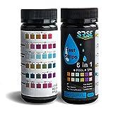 Sunis 50pcs Medidor de pH 6 en 1 Agua de Piscina Test Spa de Tiras de Prueba de Test Básicos Medición Tiras para Dureza, PH, Cloro, Alcalinidad, ácido Cianúrico