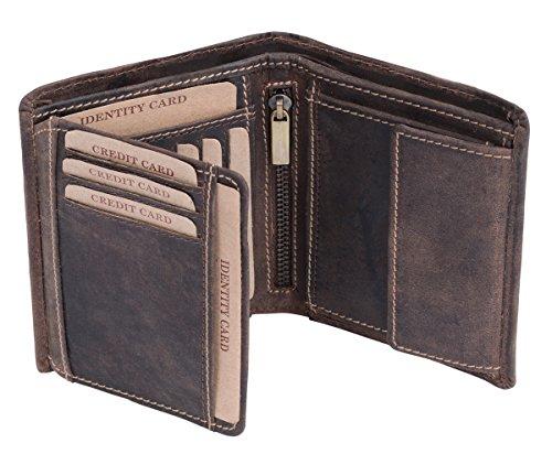 LEAS Cartera para señores Monedero para señoras Vintage Style, Piel auténtica, marrón Vintage-Collection''