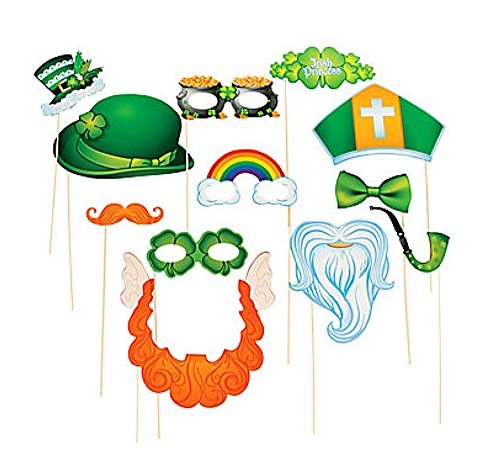 12 x St Patrick's Day Stick Kostuum Photo Booth Props