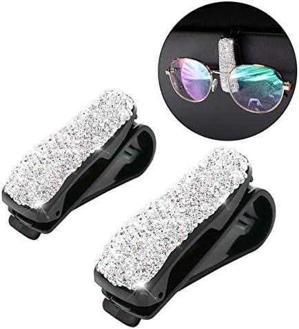 Moly Magnolia 2 PCS Glasses Holders for Car Sun Visor, Fashion Bling Crystal Rhinestones Car Eyeglasses Sunglasses Hanger Mount with Ticket Card Clip for Women Girls (Silver)