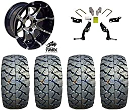 "12"" Banshee Machined/Black Wheels mounted on 22"" Stinger All Terrain Tires (Set of 4) and Jake`s 6"" Club Car DS Spindle Lift Kit - (1981-2003.5 Electric / 1996-2003.5 Gas)"