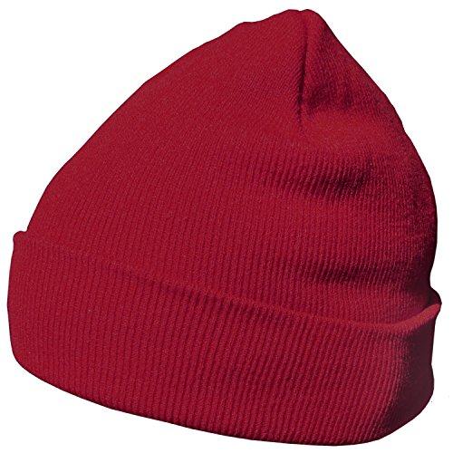 DonDon Wintermütze Mütze warm klassisches Design modern und weich bordeaux rot