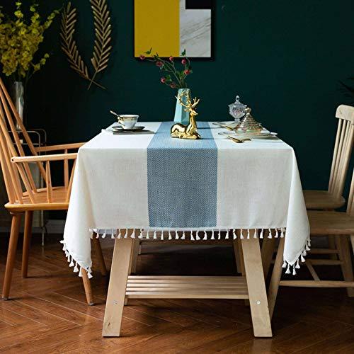 Mantel Borlas Empalmado Algodón Lino Mantel Mesa Anti Arruga Anti-desvanecimiento Lavables Usado para Cocina Comedor Boda Banquete Decoración De Mesa-Azul+borla-110×170CM(43×67in)