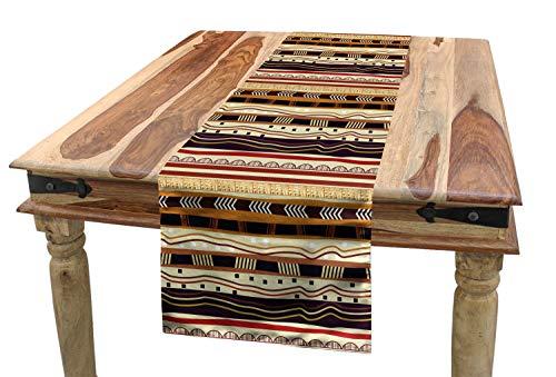 ABAKUHAUS Tribal Camino de Mesa, Motivos De La Flecha Africana, Rectangular para la Cocina Estampado Lavable No Destiñe, 40 x 180 cm, Multicolor