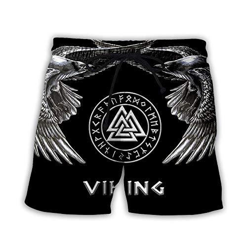 Shorts De Bain Shorts De Surf Hommes Femmes 3D Imprimé Viking Tatouage Shorts De Plage D'Été À Séchage Rapide Pantalon De Plage En Plein Air Loisirs Maillots De Bain Poche Élastique Taille Cons