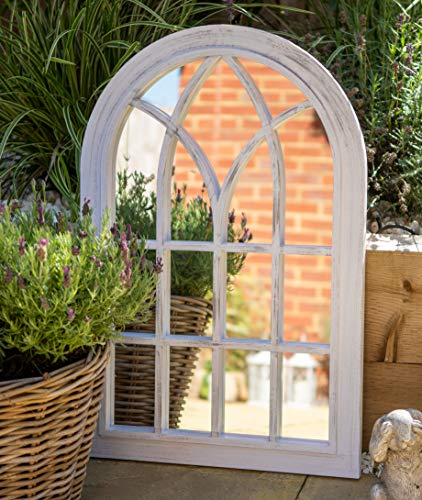 Creekwood Toscana, Indoor/Outdoor-Lightweight, Durable Frame, Any Weather Ornament-W50cm x H76cm Wall Mirror, Brushed Grey, 50cm x 76cm