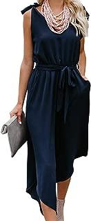 Women Outfit Sleeveless Shoulder Bandage Waistband Sexy V-Neck Wide Leg Long Jumpsuit with Belt