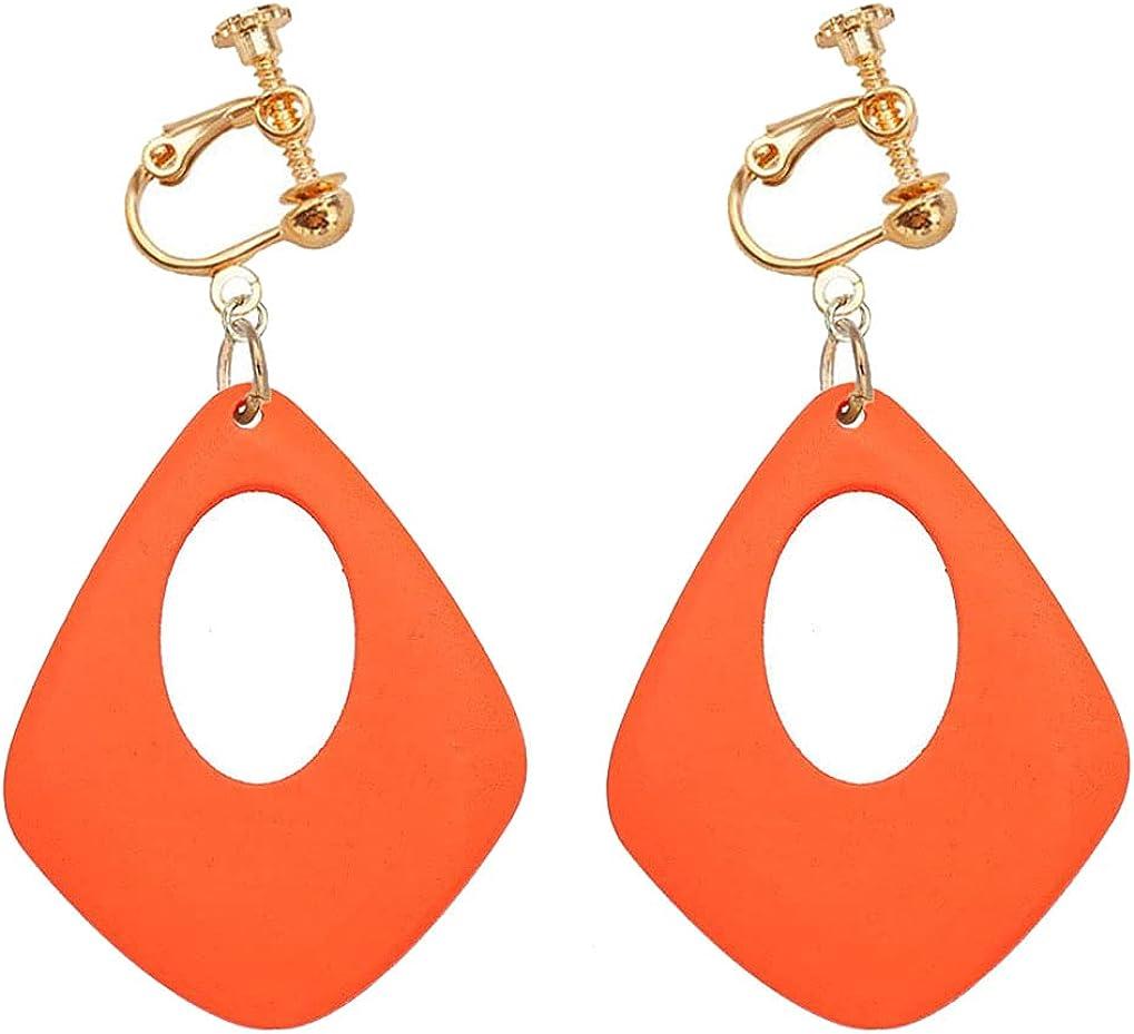 Clip on Non Pierced Earrings Wooden Hollow Teardrop Dangle Drop for Women Girl Fashion Ears Jewelry Multicolored Geometric Oval Dangling Boho Style Princess Gifts Party Dress Up
