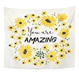 Emvency Tapestry Tee Message You are Amazing Wild Daisy Flower Home Decor Wall Hanging for Living Room Bedroom Dorm 50x60 Inches