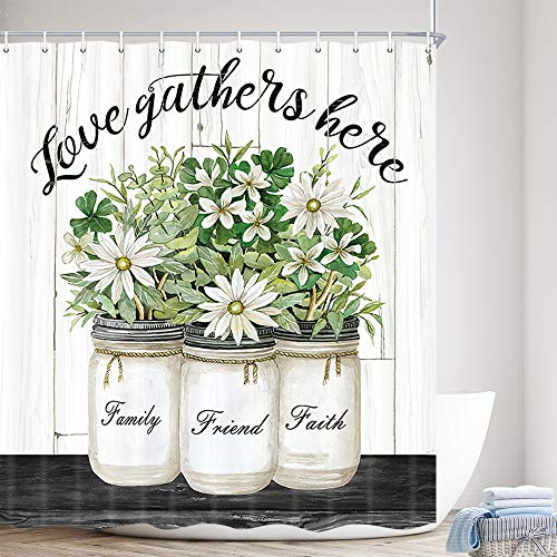 Rustic Farmhouse Floral Shower Curtain, Country Flowers Grey Wooden Fabric Bath Curtains, Modern Art Grid and Green Plant Polyester Waterproof Bathroom Set with 12 Hooks (69 x70 inch)