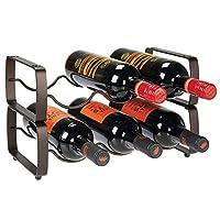 mdesign set da 2 scaffali per bottiglie di vino impilabili – portabottiglie in metallo per 3 bottiglie ciascuno – organizer metallo per ogni tipo di bottiglia – bronzo