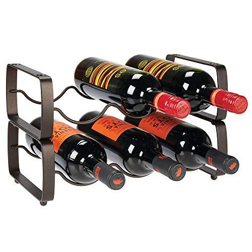 mDesign Metal Steel Free-Standing 6 Bottle Modular Wine Rack Storage Organizer for Kitchen Countertop Table Top Pantry Fridge - Holder for Wine Beer PopSoda Water Stackable - Bronze