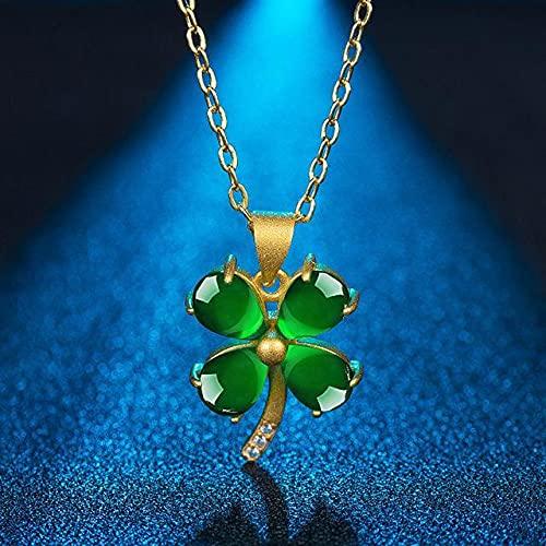 YANGYUE Collares con Colgante de trébol de Piedras Preciosas de Esmeralda Verde Jade de Moda Vintage para Mujer, Diamantes de circonita, Gargantilla de Tono Dorado, joyería, Regalos