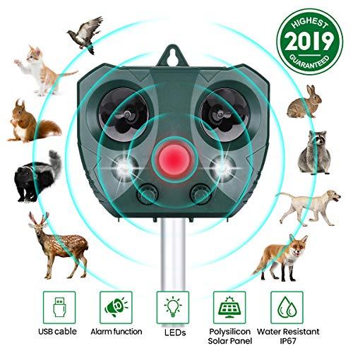 CAMTOA Katzenschreck Ultraschall Solar,wasserdichte Utraschall Abwehr Einstellbare Frequenz & Empfindlichkeit Sensor, Blitz 5 Modus Tiervertreiber Ultraschall für Katzen, Hunde, Schädlinge, Rotwild