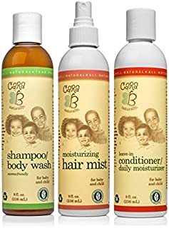 CARA B Naturally Hair Care Bundle - Includes Shampoo/Body Wash, Leave-in Conditioner/Daily Moisturizer and Moisturizing Hair Mist – Pack of 3 at 8 Ounces