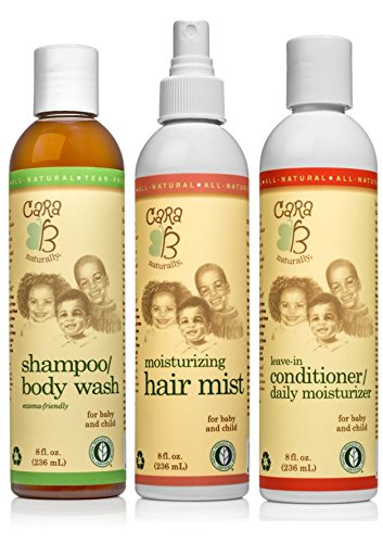 CARA B Naturally Hair Care Bundle  Includes Shampoo/Body Wash Leavein Conditioner/Daily Moisturizer and Moisturizing Hair Mist – Pack of 3 at 8 Ounces