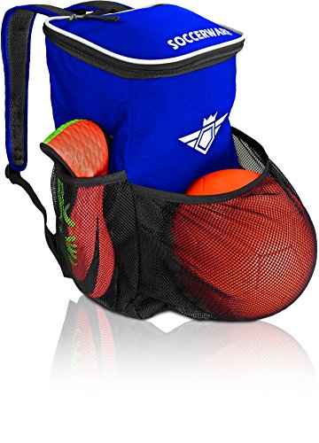Soccer Backpack with Ball Holder Compartment - for Boys & Girls | Bag Fits All Soccer Equipment & Gym Gear (Black) (Blue)