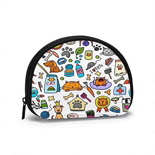 Monedero Mini Billetera de Cambio, Tienda de Mascotas Su diseño Animales Monedero Bolsa de Almacenamiento de Carcasa portátil para Mujeres y niñas