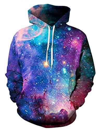 ALISISTER Unisex 3D Galaxis Hoodie Sweatshirt Bunte Bedruckte Langarm Kordelzug Kapuze Pullover M