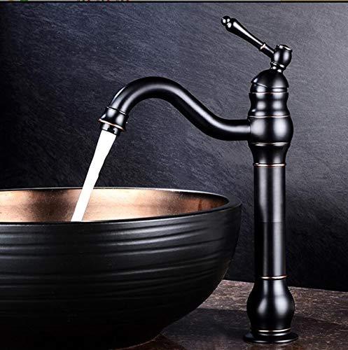 G0000D Grifo alto para lavabo de latón negro con forma de lámpara de baño grifo de lavabo de un solo agujero de la cubierta de lavado clásico caliente frío grifo mezclador grúa == Calidad superior y envío gratis