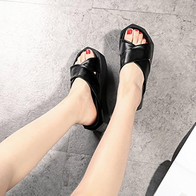 AWXJX Sommersaison Frauen Flip Flops Dick Unten äußeren Verschleiß Casual Open Toe Wasserdicht Schwarz 5.5 US 35.5 EU 3 UK  | Spielzeugwelt, fröhlicher Ozean  | Trendy