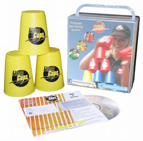 Flash Cups 1003 - Speed Stacking: FlashCups (12 Stk., gelb) mit Lunchbox+DVD
